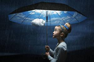 Image Rain Little girls Umbrella Clouds child