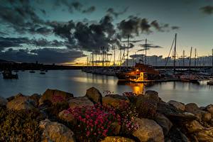 Wallpapers United Kingdom Coast Stone Sailing Sky Yacht Clouds Holyhead Nature