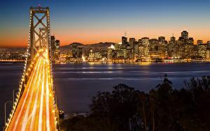 Bilder Brücken USA Nacht San Francisco Bay Bridge