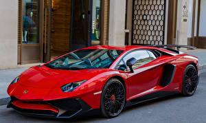 Hintergrundbilder Lamborghini Rot Aventador LP700-4 Autos
