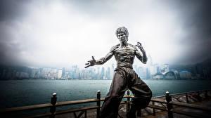 Bilder Bruce Lee China Hongkong Denkmal Prominente Städte