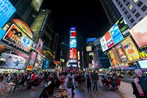 Wallpaper People Building USA Street Night New York City Manhattan Town square Times Square Cities