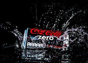 Pictures Coca-Cola Water Black background Water splash zero