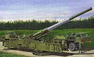 Bilder Kanone Gezeichnet M65 AtomicAnnie Gun, Heavy Motorized Militär