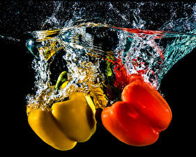 Wallpaper Bell pepper Water Two Red Yellow Black background Food
