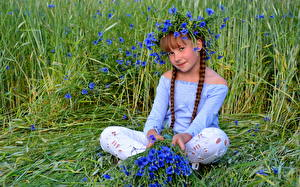 Fotos Sitzend Kleine Mädchen Zopf Gras Kinder