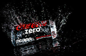 Picture Coca-Cola Water Black background Water splash zero