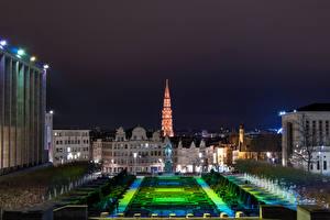 Hintergrundbilder Belgien Haus Park Denkmal Nacht Brussels Städte