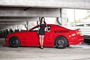 Photo Ford Red Side Vortech Mustang GT Cars Girls