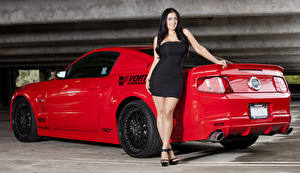 Photo Ford Red Vortech Mustang GT automobile Girls