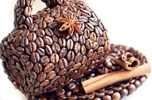 Bilder Kaffee Zimt Getreide Design Tasse Weißer hintergrund Lebensmittel