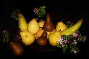 Bilder Obst Birnen Blühende Bäume Schwarzer Hintergrund Lebensmittel