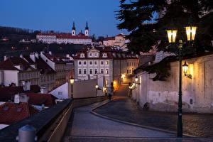 Pictures Prague Czech Republic Houses Street Night Street lights Cities