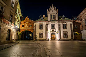 Wallpaper Poland Houses Krakow Street Night time Cities