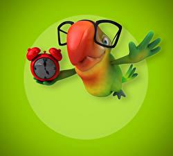 Fonds d'écran Oiseaux Psittaciformes Horloge Lunettes 3D Graphiques Animaux