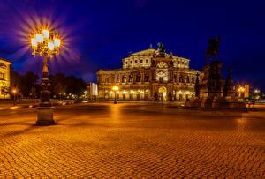 Bilder Dresden Deutschland Gebäude Denkmal Nacht Straßenlaterne