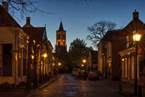 Image Netherlands Houses Utrecht Street Night time Street lights Amerongen Cities