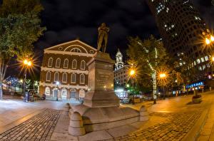 Bilder USA Haus Denkmal Boston Nacht Straßenlaterne Massachusetts