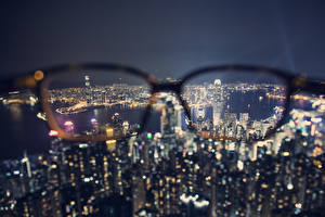 Wallpaper China Hong Kong Skyscrapers Glasses Night Megalopolis From above Cities