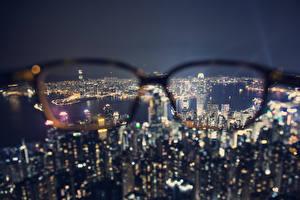 Hintergrundbilder China Hongkong Wolkenkratzer Brille Nacht Megalopolis Von oben Städte