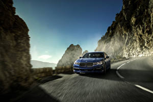 Pictures BMW Roads Blue Driving 2016 Alpina B7 xDrive Cars
