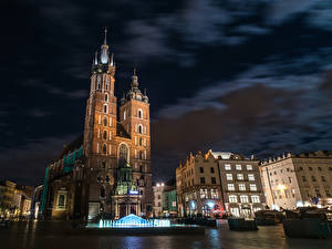 Images Poland Houses Fountains Krakow Night time Street Town square Cities