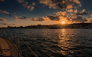 Fotos Spanien Morgendämmerung und Sonnenuntergang Meer Himmel Mallorca Wolke Sonne Palma Habour Natur