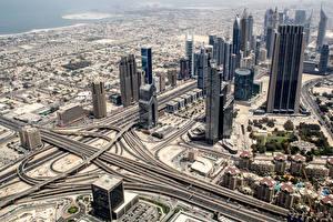 Images Skyscrapers Dubai Emirates UAE Roads From above Cities