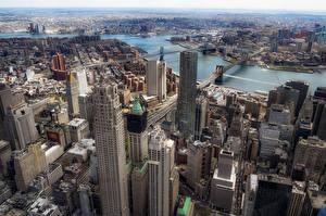 Bilder Vereinigte Staaten Wolkenkratzer Gebäude Manhattan Von oben Megalopolis Brooklyn Städte