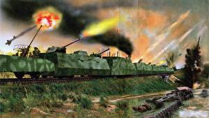 Images Military vehicle War Firing The armored train Ilya Muromets 1944 military