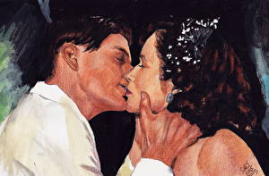 Wallpapers Back to the Future Lovers Painting Art Men Kiss George, Lorraine Girls