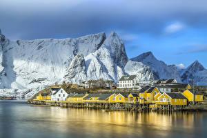 Desktop wallpapers Norway Building Lake Mountain Lofoten Cities
