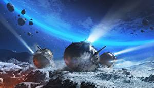 Bureaubladachtergronden World of Tanks Tanks Planeet oppervlak Spherical Tank IS-360 videogames Ruimte Fantasy