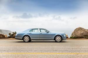 Bilder Bentley Luxus Hellblau Metallisch Seitlich 2016 Mulsanne automobil
