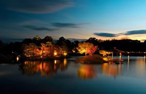 Image Japan Gardens Pond Trees Night Okayama Nature