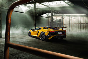 Photo Lamborghini Back view Yellow Aventador LP 750-4 SV Novitec Torado auto