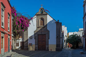 Pictures Spain Houses Bougainvillea Canary Islands Street Las Palmas Gran Canaria Cities