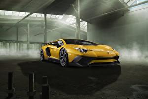 Hintergrundbilder Lamborghini Gelb Aventador LP 750-4 SV Novitec Torado Autos