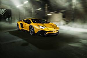 Hintergrundbilder Lamborghini Gelb Aventador LP 750-4 SV Novitec