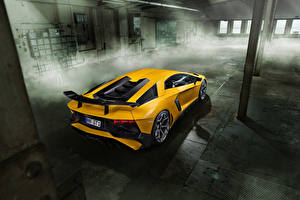 Images Lamborghini Yellow Back view Aventador LP 750-4 SV Novitec