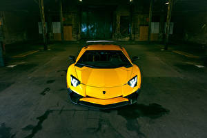 Bilder Lamborghini Gelb Vorne Aventador LP 750-4 SV Superveloce Novitec Torado Autos