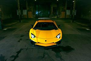 Pictures Lamborghini Yellow Front Aventador LP 750-4 SV Superveloce Novitec Torado Cars