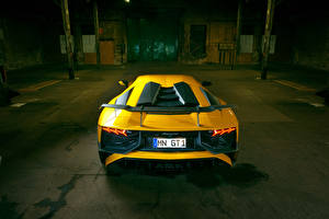Images Lamborghini Yellow Back view Aventador LP 750-4 SV Novitec Torado