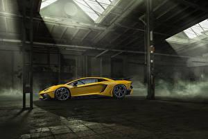 Hintergrundbilder Lamborghini Gelb Seitlich Aventador LP 750-4 SV Novitec Torado