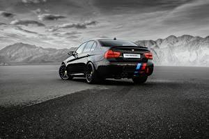 Wallpapers BMW Black Back view Sedan M3 Sedan E90 automobile