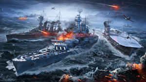 Pictures World Of Warship Ship Aircraft carrier vdeo game Army