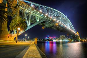 Fotos Brücken Küste Australien Nacht HDR Sydney