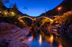 Wallpapers Switzerland River Bridges Night Street lights Rock Lavertezzo Canton of Ticino Nature