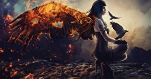 Hintergrundbilder Engel Krähen Feuer Gotische Flügel Fantasy Mädchens