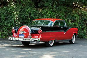 Hintergrundbilder Ford Retro Rot Hinten 1956 Fairlane Victoria Hardtop Coupe (64C) Autos